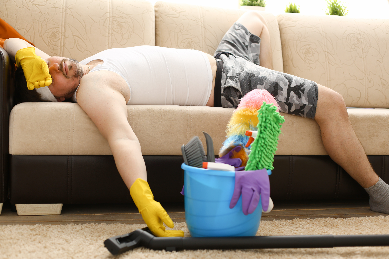 Bad cleaning service man sleeping