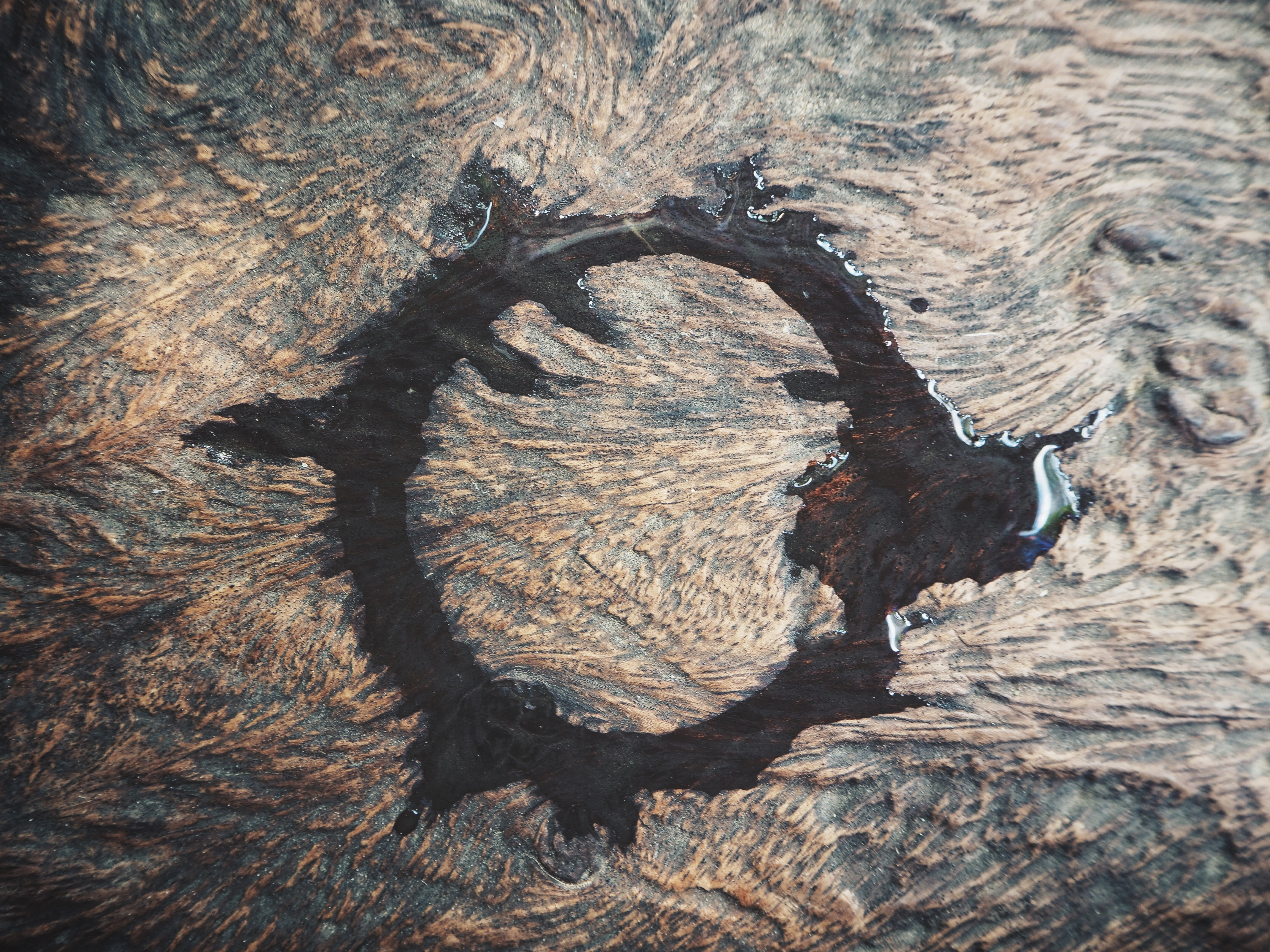 Water ring spot on wood