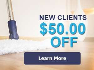 Coupon for $50 off for new clients with an image of a mop